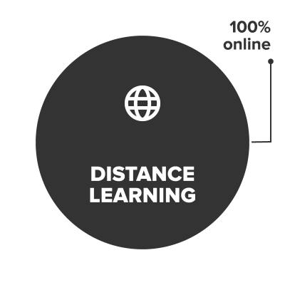Distance learning courses are conducted 100% online.
