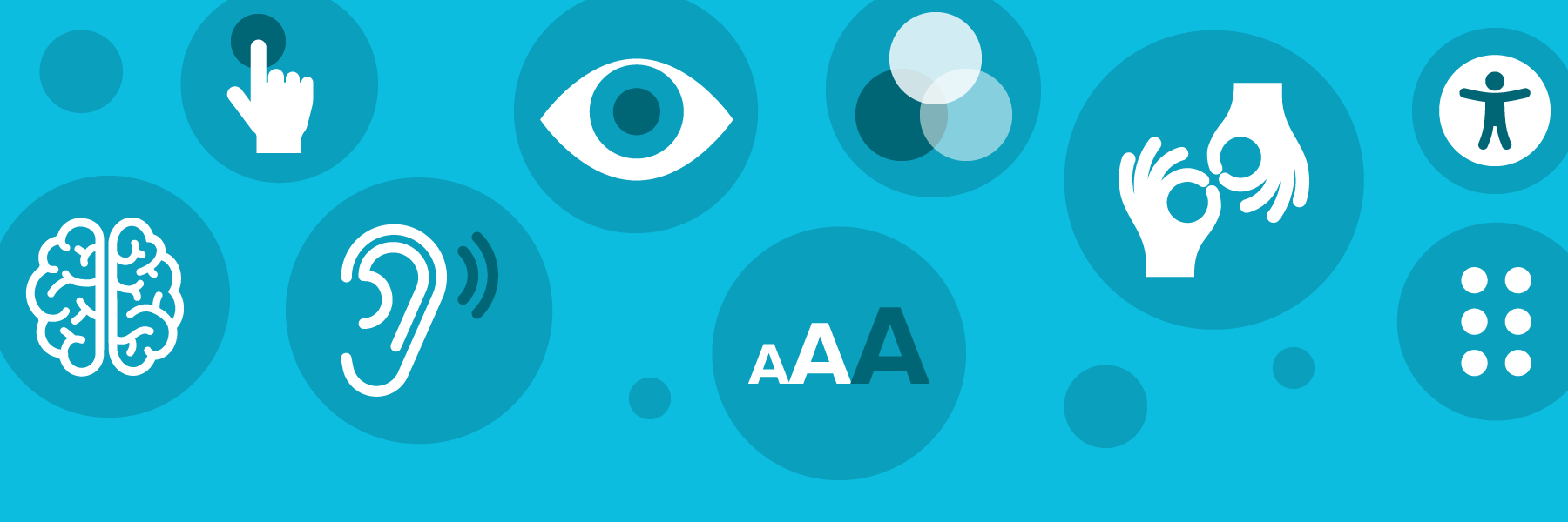 accessibility icons representing eye sight, motor control, hearing, etc.